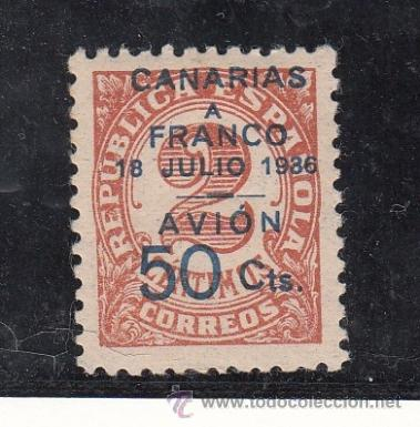 ,,CANARIAS 11B SIN CHARNELA, VALOR COMPLEMENTARIO (Sellos - España - Guerra Civil - Beneficencia)