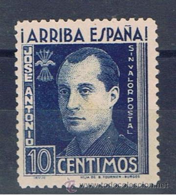 JOSE ANTONIO PRIMO DE RIVERA 10 CTS SIN VALOR POSTAL NUEVO* (Sellos - España - Guerra Civil - De 1.936 a 1.939 - Nuevos)