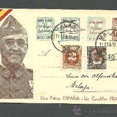 Sellos: C-NC1 POSTAL PATRIOTICA - EFIGIE DE FRANCO - CON 6 SELLOS PATRIÓTICOS DE MALAGA. Lote 33461803
