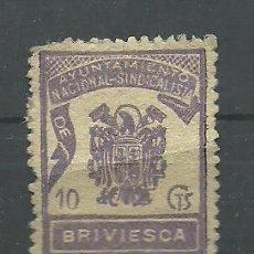 Sellos: F4-4 BRIVIESCA - AYUNTAMIENTO NACIONAL-SINDICALISTA 10 CTS VIOLETA.. Lote 33652531