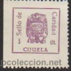 Sellos: SELLO DE CARIDAD. CIJUELA. 5 CTS. MARRÓN. NUEVO.. Lote 33684779
