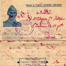 Sellos: CURIOSA CARTA ALBALATE GUADALAJARA. 1939. TABOR. CENSURA. REGULARES INDIGENAS LARACHE. MANDO. FRANCO. Lote 34048207