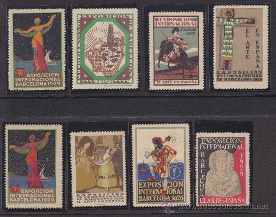 COLECCION DE VIÑETAS DE LA EXPOSICION INTERNACIONAL DE BARCELONA 1929, 6 PRIMERAS CON GOMA ORIGINAL (Sellos - España - Guerra Civil - Viñetas - Nuevos)