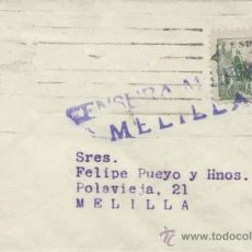 Sellos: CARTA CON SELLO 819- CENSURA MILITAR DE MELILLA. Lote 34229105