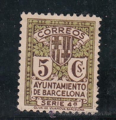 ,,BARCELONA 12 SIN GOMA, ESCUDO DE LA CIUDAD, (Sellos - España - Guerra Civil - Beneficencia)