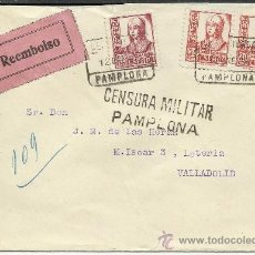 Sellos: GUERRA CIVIL, SOBRE CON CENSURA MILITAR DE PAMPLONA 1938. Lote 34463200