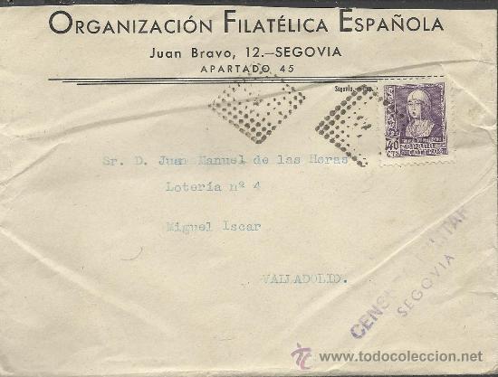 GUERRA CIVIL, SOBRE CON CENSURA MILITAR DE SEGOVIA 1938 (Sellos - España - Guerra Civil - De 1.936 a 1.939 - Cartas)