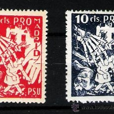 Sellos: 1937.- SERIE DE 2 VALORES DE 10 CTS. -PRO MADRID- PSU. SIN FIJASELLOS. RARISIMA.. Lote 35422654