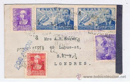 CIRCULADO 1939 DE LAS PALMAS A LONDRES CON CENSURA MILITAR (Sellos - España - Guerra Civil - De 1.936 a 1.939 - Cartas)
