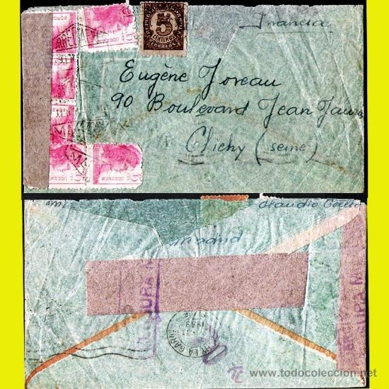 1939.- CARTA AEREA CON 7 SELLOS Y CENSURA REPUBLICANA, DE MADRID A SEINE (FRANCIA) (Sellos - España - Guerra Civil - De 1.936 a 1.939 - Cartas)