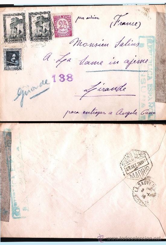 1938.- CARTA TRICOLOR C. AEREO DE MADRID A GIRANDE.ETIQUETA Y MARCA DE CENSURA REPUBLICANA EN VERDE. (Sellos - España - Guerra Civil - De 1.936 a 1.939 - Cartas)