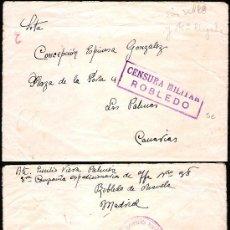 Sellos: 1937.- CARTA SIN SELLO DE ROBLEDO DE CHAVELA (MADRID) A LAS PALMAS.CENSURA DE ROBLEDO SIN CATALOGAR.. Lote 35446606