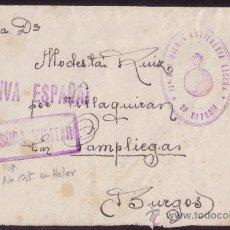 Sellos: 1939.SOBRE DE CIUDAD REAL A PAMPLONA.MARCA *11º REGIMIENTO ARTILLERIA LIGERA/38 BATERIA*. MAGNÍFICA.. Lote 26837377
