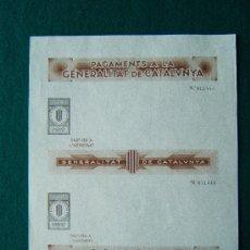 Sellos: PAGAMENTS A LA GENERALITAT DE CATALUNYA - PAPER DE PAGAMENTS -4 IMPRESOS - 1-2-25-50 PTS - 1936/39 ?. Lote 35729375
