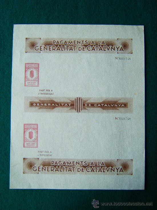 Sellos: PAGAMENTS A LA GENERALITAT DE CATALUNYA - PAPER DE PAGAMENTS -4 IMPRESOS - 1-2-25-50 PTS - 1936/39 ? - Foto 2 - 35729375
