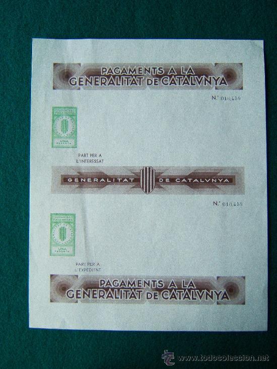 Sellos: PAGAMENTS A LA GENERALITAT DE CATALUNYA - PAPER DE PAGAMENTS -4 IMPRESOS - 1-2-25-50 PTS - 1936/39 ? - Foto 4 - 35729375