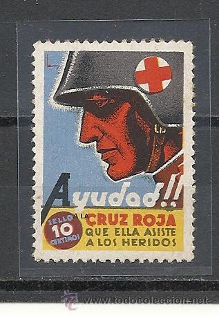 946-VIÑETA GUERRA CIVIL REPUBLICA CRUZ ROJA 10 CTS CRUZ ROJA ASISTE A NUESTROS HERIDOS (Sellos - España - Guerra Civil - Viñetas - Nuevos)
