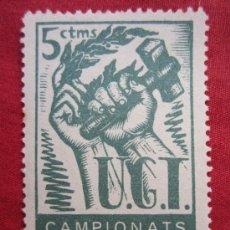 Sellos: SELLO UGT , CAMPIONATS DE TREBALL DE CARA A LA GUERRA - 5 CENTIMOS. Lote 36024503