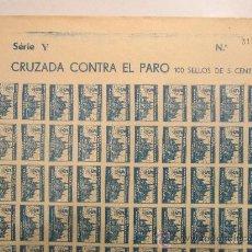Sellos: PLIEGO COMPLETO DE 100 SELLOS CRUZADA CONTRA EL PARO. MALLORCA. 5 CTS. SERIE Y. SIN DENTAR! RARO. Lote 35991350