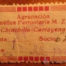Sellos: RARISIMA CUOTA 1 PTS AGRUPACIÓN BENEFICA FERROVIARIA DE M.Z.A. DE CHINCHILLA A CARTAGENA MURCIA 1930. Lote 36491826