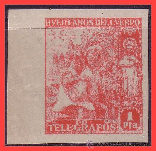 BENEFICENCIA HUÉRFANOS TELÉGRAFOS 1938 NIÑOS Y SANTIAGO, EDIFIL Nº 20S * * (Sellos - España - Guerra Civil - Beneficencia)