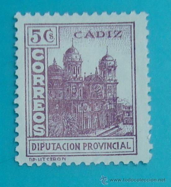 SELLO VIÑETA CADIZ CORREOS DIPUTACION PROVINCIAL, NUEVO SIN GOMA (Sellos - España - Guerra Civil - De 1.936 a 1.939 - Nuevos)