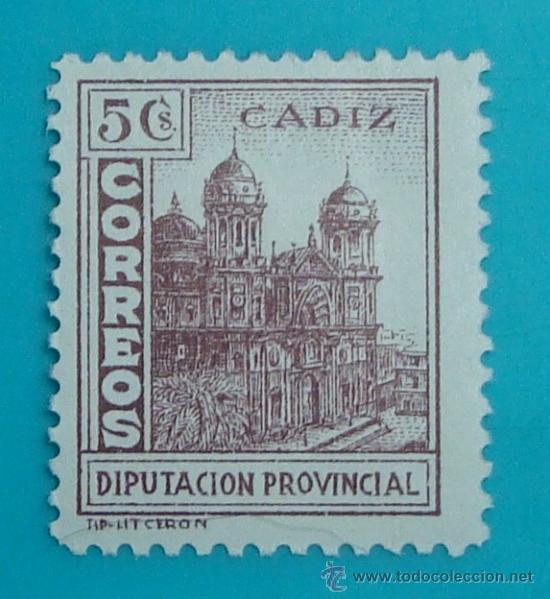 CADIZ CORREOS, DIPUTACION PROVINCIAL, NUEVO SIN GOMA (Sellos - España - Guerra Civil - De 1.936 a 1.939 - Nuevos)