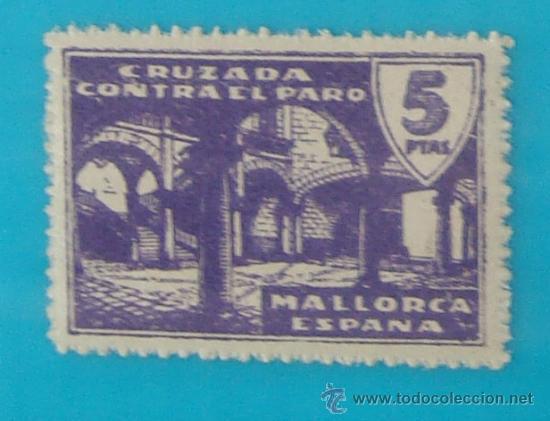 MALLORCA 5 CTS, CRUZADA CONTRA EL PARO, NUMERACION EN EL DORSO, NUEVO CON GOMA (Sellos - España - Guerra Civil - De 1.936 a 1.939 - Nuevos)
