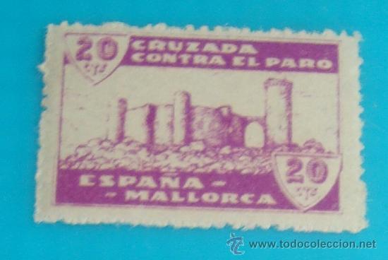 MALLORCA 20 CTS, CRUZADA CONTRA EL PARO, NUMERACION EN EL DORSO, NUEVO CON GOMA (Sellos - España - Guerra Civil - De 1.936 a 1.939 - Nuevos)
