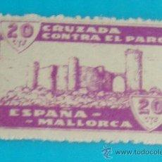 Sellos: MALLORCA 20 CTS, CRUZADA CONTRA EL PARO, NUMERACION EN EL DORSO, NUEVO CON GOMA. Lote 36989586