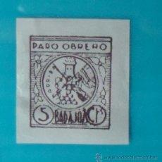 Sellos: BADAJOS, PARO OBRERO, 5 CTS, NUEVO SIN GOMA. Lote 36990395
