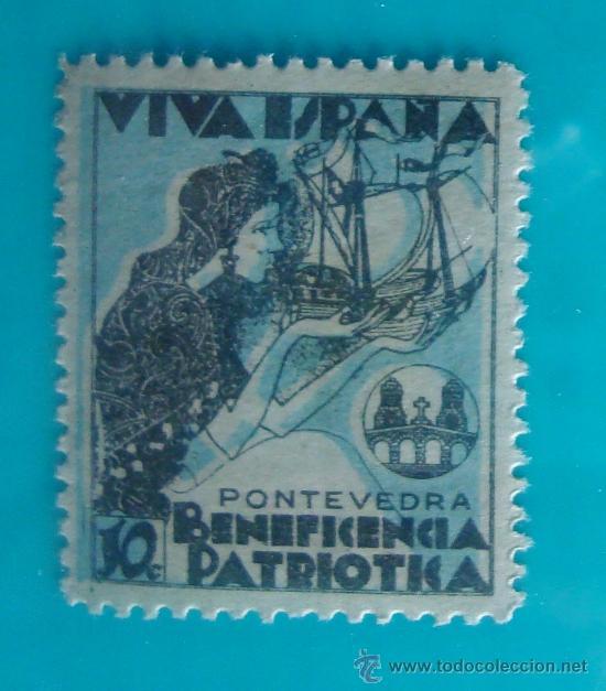PONTEVEDRA, BENEFICENCIA PATRIOTICA, VIVA ESPAÑA, 10 C, NUEVO CON GOMA (Sellos - España - Guerra Civil - De 1.936 a 1.939 - Nuevos)