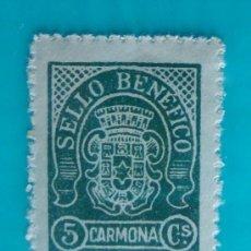 Sellos: CARMONA, SELLO BENEFICO, 5 CS, NUEVO CON GOMA. Lote 36994003