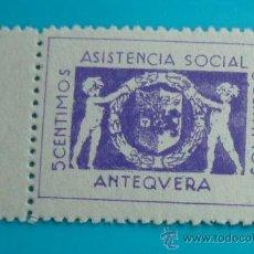 Sellos: SELLO VIÑETA ANTEQUERA ASISTENCIA SOCIAL 5 CENTIMOS, NUEVO SIN GOMA. Lote 37003550