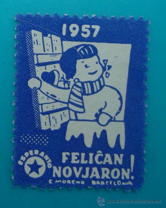 FELICAN NOVJARON, FELIZ NAVIDAD, ESPERANTO, 1957, NUEVO SIN GOMA (Sellos - España - Guerra Civil - De 1.936 a 1.939 - Nuevos)