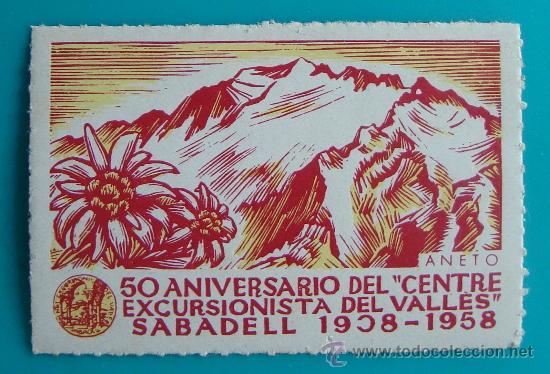 VIÑETA, 5O ANIVERSARIO DEL CENTRE EXCURSIONISTA DEL VALLES, SABADELL 1908 - 1958, NUEVO CON GOMA (Sellos - España - Guerra Civil - De 1.936 a 1.939 - Nuevos)