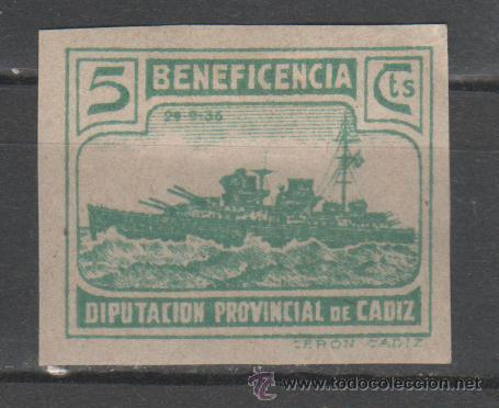 Sellos: 0128 Guerra Civil - CADIZ - Beneficencia Fesofi nº 94 SIN DENTAR (no catalogado) - Foto 1 - 37025602