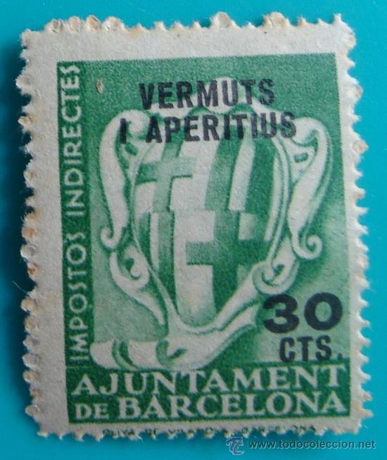 AJUNTAMENT DE BARCELONA IMPOSTOS INDIRECTES VERMUTS I APERITIUS 30 CTS, NUMERADO, NUEVO CON GOMA (Sellos - España - Guerra Civil - De 1.936 a 1.939 - Nuevos)