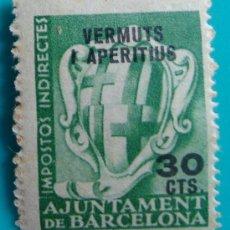 Sellos: AJUNTAMENT DE BARCELONA IMPOSTOS INDIRECTES VERMUTS I APERITIUS 30 CTS, NUMERADO, NUEVO CON GOMA. Lote 37036414