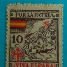 Sellos: LA CORUÑA, VIVA ESPAÑA, POR LA PATRIA, 10 C, NUEVO CON GOMA. Lote 37056661