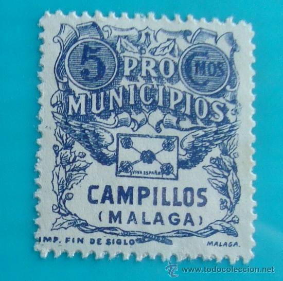 SELLO, VIÑETA, CAMPILLOS MALAGA PRO MUNICIPIOS, 5 CMOS NUEVO CON GOMA (Sellos - España - Guerra Civil - De 1.936 a 1.939 - Nuevos)