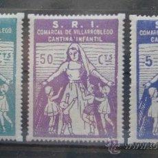 Sellos: SOCORRO ROJO INTERNACIONAL S.R.I COMARCAL DE VILLARROBLEDO ALBACETE CANTINA INFANTIL 25-50CTS-5PTAS. Lote 37073968
