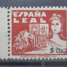 Sellos: BARCELONA 1937 5 CNTS ROJO ESPAÑA LEAL GUERRA CIVIL . Lote 37074042