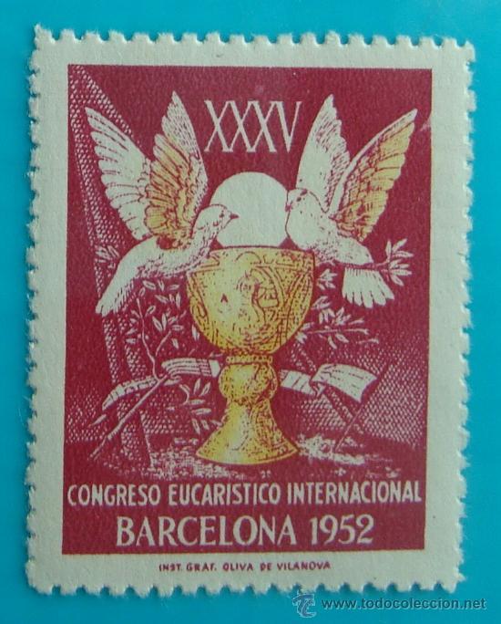 SELLO, VIÑETA, XXXV CONGRESO EUCARISTICO INTERNACIONAL, BARCELONA 1952, NUEVO CON GOMA (Sellos - España - Guerra Civil - De 1.936 a 1.939 - Nuevos)