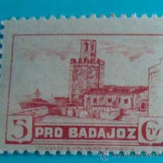 Sellos: SELLO VIÑETA PRO BADAJOZ 5 CTS, NUEVO CON GOMA. Lote 37160098
