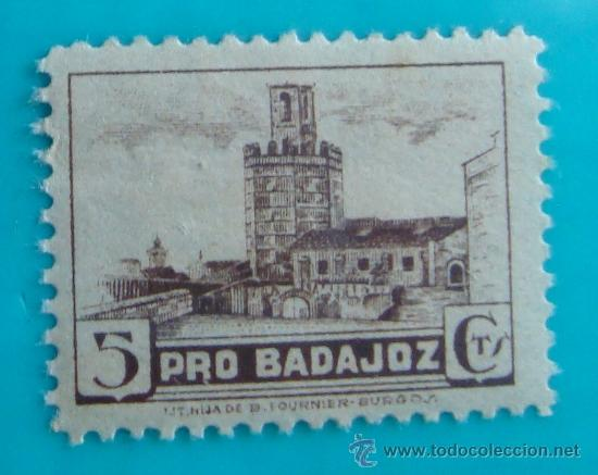 SELLO VIÑETA PRO BADAJOZ 5 CTS, NUEVO CON GOMA (Sellos - España - Guerra Civil - De 1.936 a 1.939 - Nuevos)