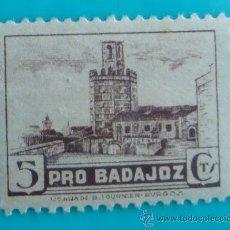 Sellos: SELLO VIÑETA PRO BADAJOZ 5 CTS, NUEVO CON GOMA. Lote 37160125