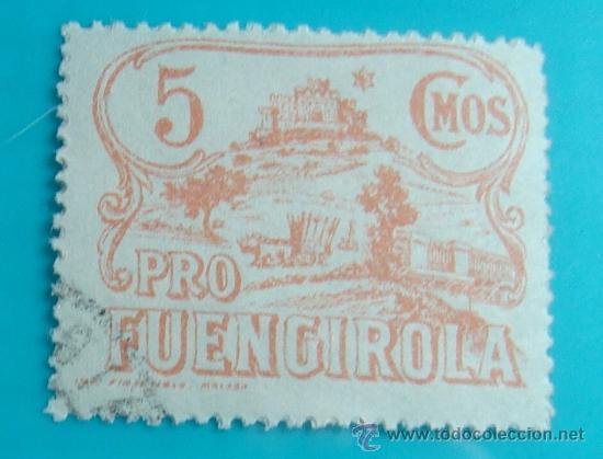 SELLO VIÑETA PRO FUENGIROLA 5 CMOS, CIRCULADO (Sellos - España - Guerra Civil - De 1.936 a 1.939 - Nuevos)