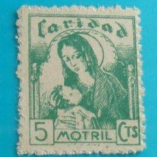 Sellos: SELLO VIÑETA MOTRIL CARIDAD 5 CTS, NUEVO SIN GOMA. Lote 37207030