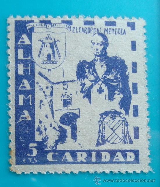 SELLO VIÑETA ALHAMA GRANADA CARIDAD 5 CTS, NUEVO CON GOMA (Sellos - España - Guerra Civil - De 1.936 a 1.939 - Nuevos)